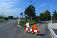 Дорожные работы подписывают для строительств Софии, Болгарии, SEPT. 18, 2014 Стоковое Изображение RF