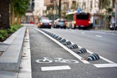 Дорожный знак велосипеда на улице Стоковое Изображение