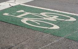 Дорожный знак велосипеда на мостоваой Стоковое Изображение RF