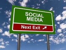 Дорожный знак выхода социальных средств массовой информации следующий Стоковое Изображение RF
