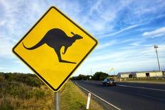 Дорожный знак для скрещивания кенгуру стоковые изображения rf