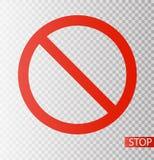 Дорожный знак запрета Остановите икону отсутствие символа Не сделайте его бесплатная иллюстрация