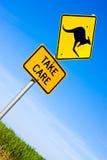 дорожный знак кенгуруа крупного плана Стоковые Изображения RF