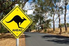 Дорожный знак кенгуру предупреждающий Стоковые Фотографии RF