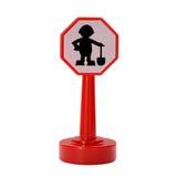 Дорожный знак конструкции, человек с лопаткоулавливателем и Стоковое Фото