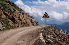 Дорожный знак на дороге горы в Wutaishan Стоковая Фотография RF