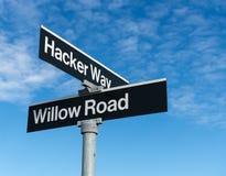 Дорожный знак на офисе Facebook Inc в Калифорнии Стоковая Фотография RF