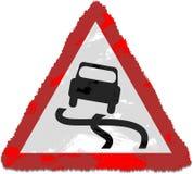 дорожный знак скользкий Стоковые Изображения RF