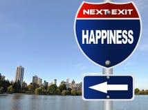 Дорожный знак счастья Стоковые Фото
