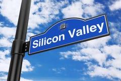 Дорожный знак Silicon Valley перевод 3d Стоковая Фотография
