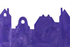 Доска в форме домов и зданий против белого w стоковые изображения rf