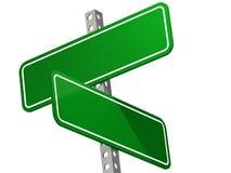 Доска дорожного знака для перекрестной дороги в зеленом цвете Стоковое Фото