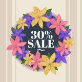 Доска круга весны флористическая с иллюстрацией текста продажи 30% иллюстрация штока