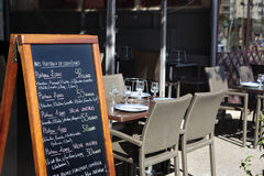 Доска меню ресторана Парижа Стоковое Изображение