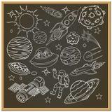 Доска мела школы с doodles космического пространства Стоковая Фотография