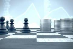 Доска, пешка и деньги в экономической войне Стоковые Изображения