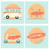 Доска прибоя, велосипед, фургон и самокат Стоковое Изображение