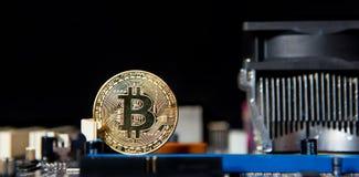 Доска процессора электрического счетнорешающего устройства Bitcoin золота Стоковая Фотография RF