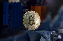 Доска процессора электрического счетнорешающего устройства Bitcoin золота Стоковое Фото