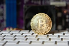 Доска процессора электрического счетнорешающего устройства Bitcoin золота Стоковое Изображение RF