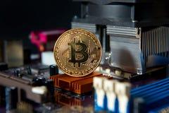 Доска процессора электрического счетнорешающего устройства Bitcoin золота Стоковая Фотография