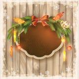 Доска рамки рождества, гирлянда, орнаменты, птицы Стоковое Фото