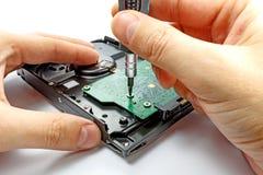 Доска регулятора удаления дисковода жесткого диска на белой предпосылке Стоковая Фотография RF