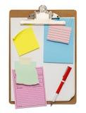 Доска сзажимом для бумаги и примечания Стоковое Изображение RF