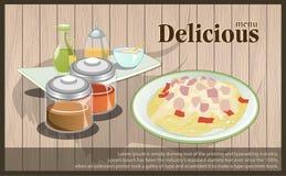 Доска спагетти меню с гарнирует Доска меню - иллюстрация вектора Стоковое Фото