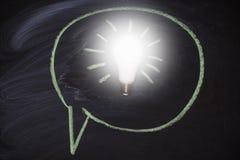 Доска с предпосылкой лампы идеи белизна успеха дела изолированная принципиальной схемой Стоковое фото RF