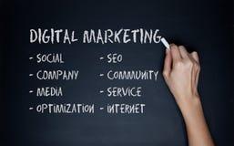 Доска черноты мела притяжки руки концепции маркетинга цифров Стоковая Фотография RF