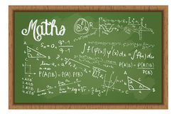 Доска школы черная с формулами математик Стоковая Фотография