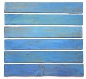 Доска Grunge голубая деревянная изолированная на белой предпосылке Стоковые Изображения
