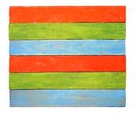 Доска Grunge красная зеленая голубая striped деревянная изолированная на белой предпосылке Стоковые Фото