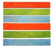 Доска Grunge красная зеленая голубая striped деревянная на белой предпосылке Стоковые Фотографии RF