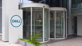 Доска signage улицы с Dell Inc логос строя самомоднейший офис Редакционный перевод 3D стоковое изображение rf