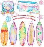 Доски и фургон серфинга акварели бесплатная иллюстрация