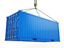Доставка, груз, концепция доставки - голубой грузовой контейнер поднятый крюком крана изолированным на белизне иллюстрация вектора