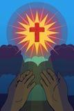 Достигаемость рук для христианского креста Стоковые Фото