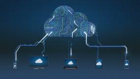 Достигните анимации обслуживания облака вычисляя, применения в облако иллюстрация штока