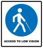 Достигните к низкому символу зрения линия значок слепоты, иллюстрация логотипа вектора плана, линейная пиктограмма изолированная  бесплатная иллюстрация