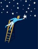 Достижение звезд с лестницей Стоковые Фото