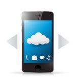Доступ технологии облака используя телефон. иллюстрация вектора