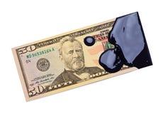 Доходы от нефти 50 долларовых банкнот стоковое фото