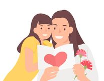 Дочь и мама Дня матери дизайна характера людей мультфильма счастливая жизнерадостно наблюдая карту торжества иллюстрация вектора