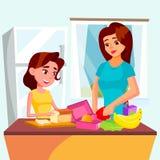 Дочь помогает ее матери варя совместно в векторе кухни изолированная иллюстрация руки кнопки нажимающ женщину старта s иллюстрация вектора