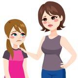 Дочь с термометром и матерью иллюстрация штока