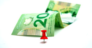 Долларовая банкнота 20 канадцев Стоковые Фото