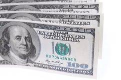 Долларовая банкнота на белой предпосылке Стоковое фото RF
