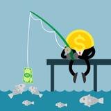 Долларовая банкнота рыбной ловли денег монетки Стоковые Фото